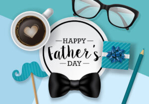 fathers,day,banner,design,with,lettering,,coffee,cup,and,paper