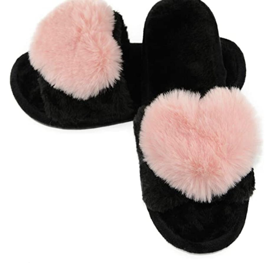 Furry Heart Slippers