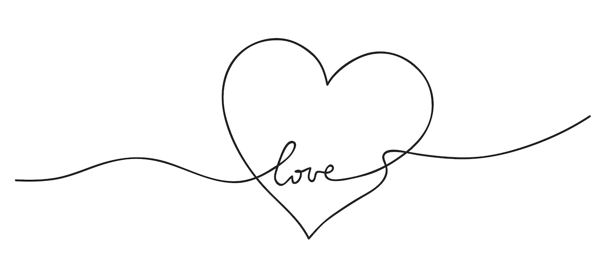 heart.,abstract,love,symbol.,continuous,line,art,drawing,vector,illustration.