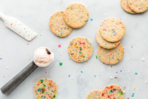 sprinkle,sugar,cookies,and,a,scoop,of,black,cherry,ice